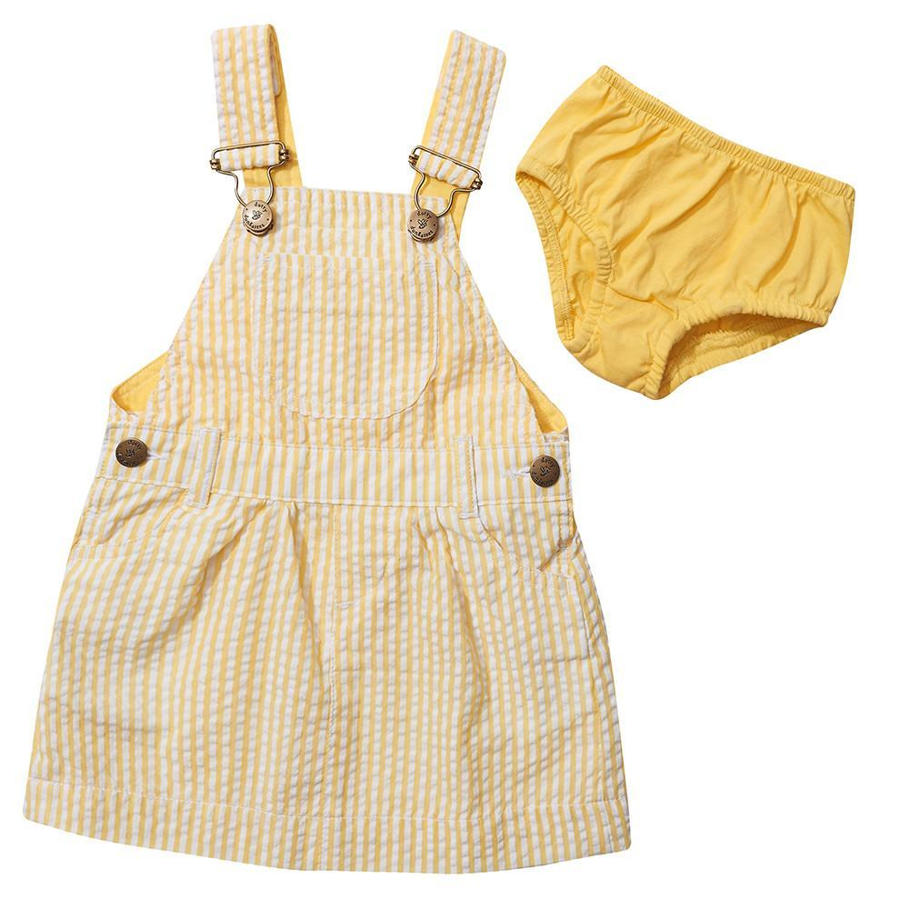 Dotty Dungarees - Yellow Seersucker Dress