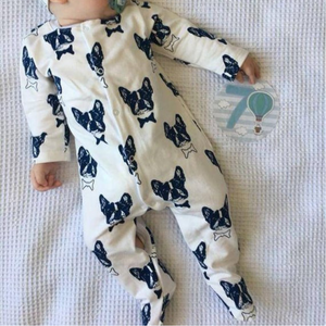 french bulldog footed onesie made in europe, baby clothes made in ukraine. baby onesie. baby high end clothes. baby onesie. soft cotton onesie. high end baby onesie