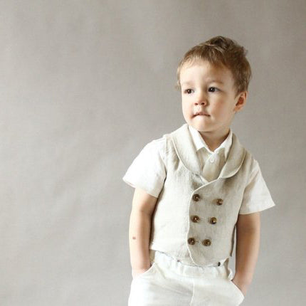 kids toddler baby child linen vest pants wedding ring bearer first birthday special occasion