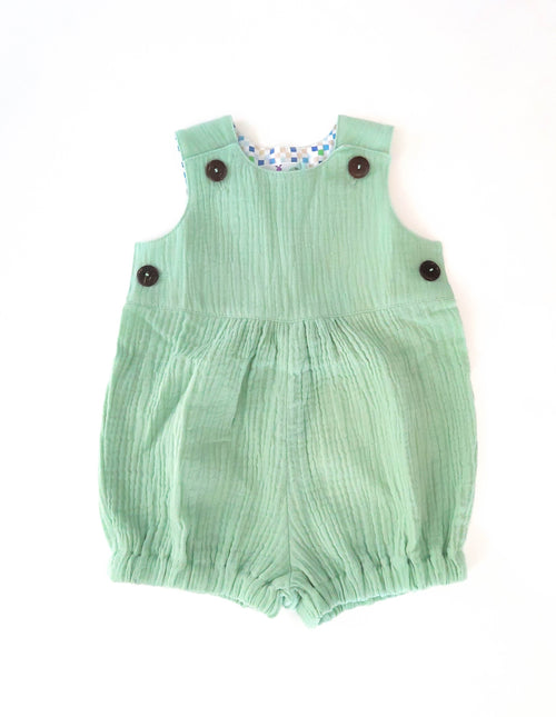 Double Gauze Pastel Green Romper For Babies | Gabri Isle