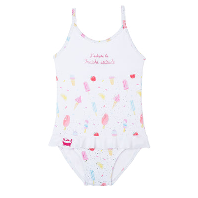 french one piece bathing suit for girls ice cream print