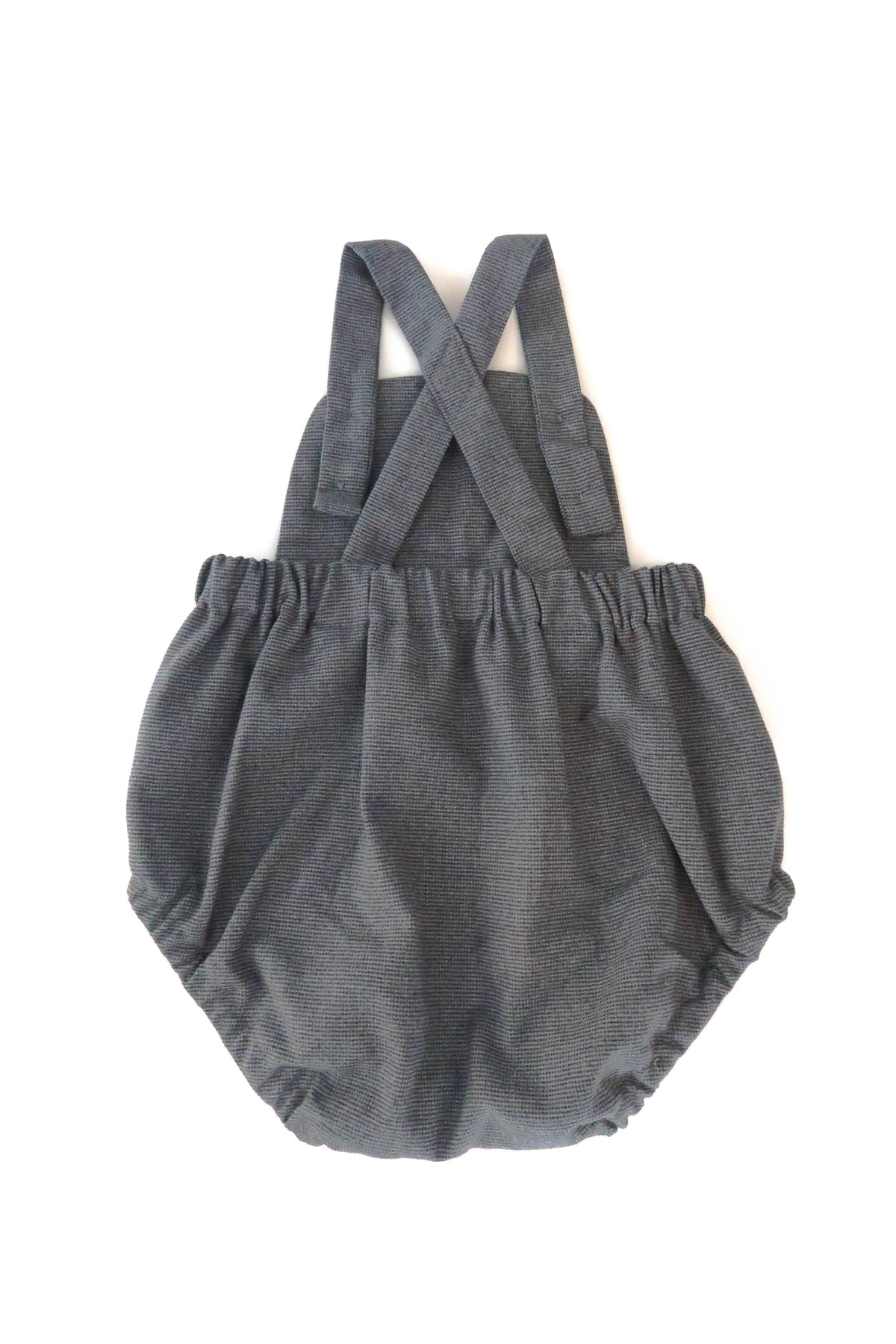 Blue Gray cotton & wool romper for babies | Gabri Isle
