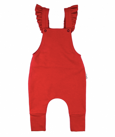Red Frill Suspender Dungarees For Baby Girl | Gabri Isle