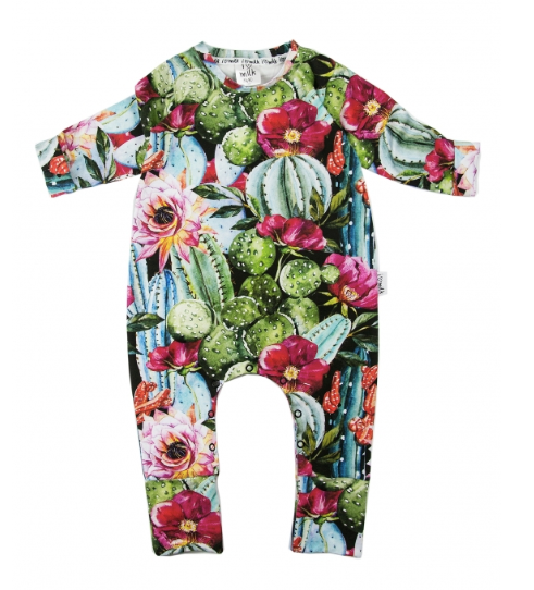 Long Sleeve Cactus Flower Romper