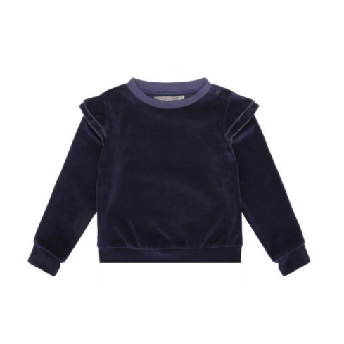Dark Blue Velour Sweater with butterfly accent velour christmas outfit christmas sweater