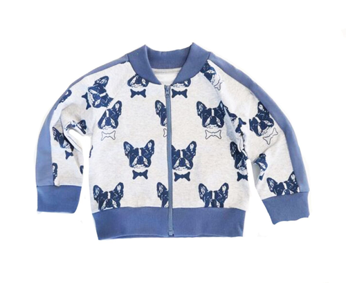 french bulldog bomber jacket sweater zipup zip-up baby toddler kids children