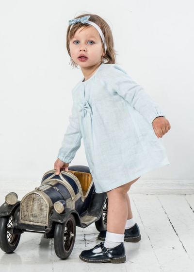 Baby Girl Pastel Blue Linen Dress