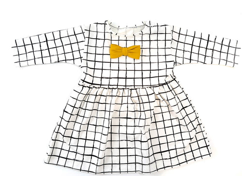 holiday christmas dress with checkers design and mustard bow