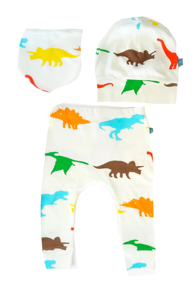colorful dinosaur baby gift set - bib hat pants
