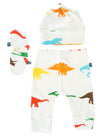 colorful dinosaur baby gift set - mittens hat pants