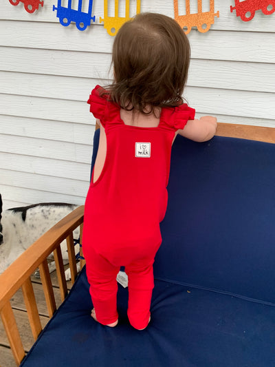 Red Frill Suspender Dungarees