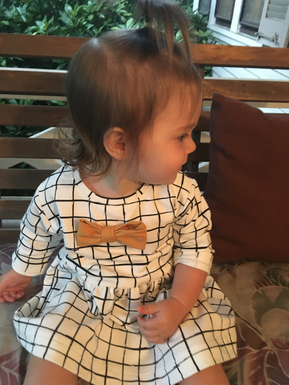 Checkers Bow Dress For Baby Girls | Gabri Isle