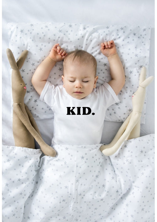 "t-shirt that says ""kid"""