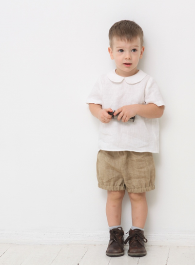 Tan Linen Baby Bloomers For Babies | Gabri Isle