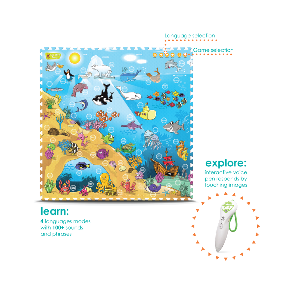 Creative Baby 9 Piece Interactive Playmat i-Mat™, Under The Sea