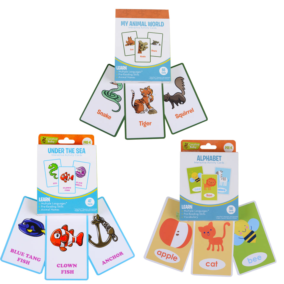 3 interactive flash cards- animal world+ under the sea + alphabet
