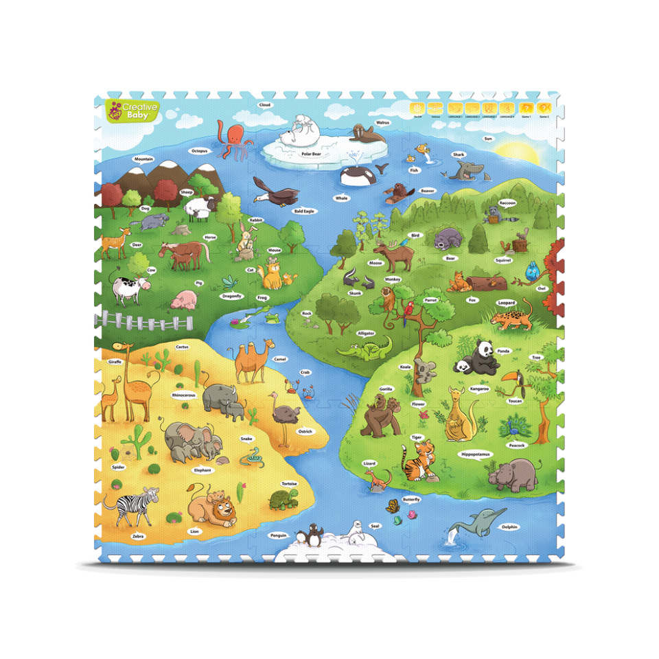 Creative Baby 9 Piece Interactive Playmat i-Mat™, My Animal World