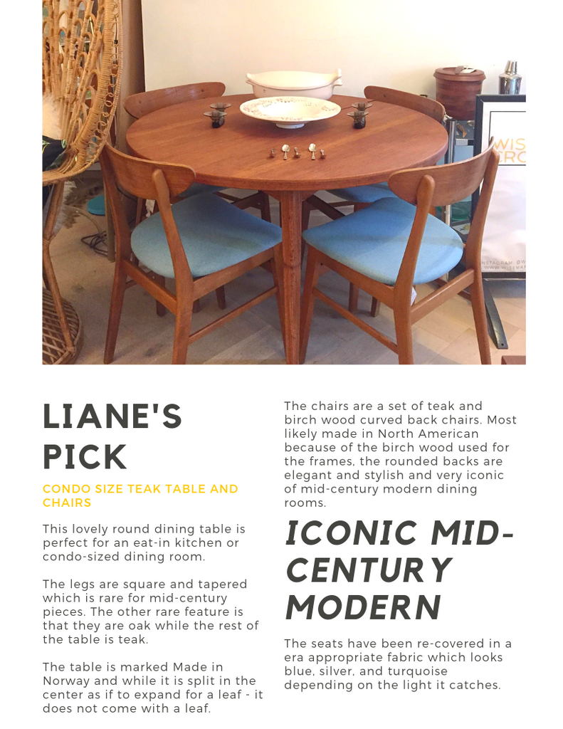 Liane's Pick, teak dining table, teak dining chairs