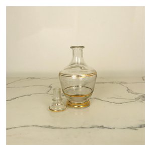 Clear Glass Decanter with Gold Ring Pattern
