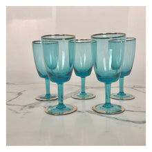 Load image into Gallery viewer, Set of 5 Turquoise and Gold Port Glasses