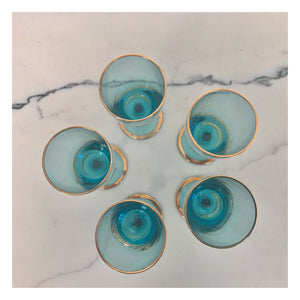 Set of 5 Turquoise and Gold Port Glasses