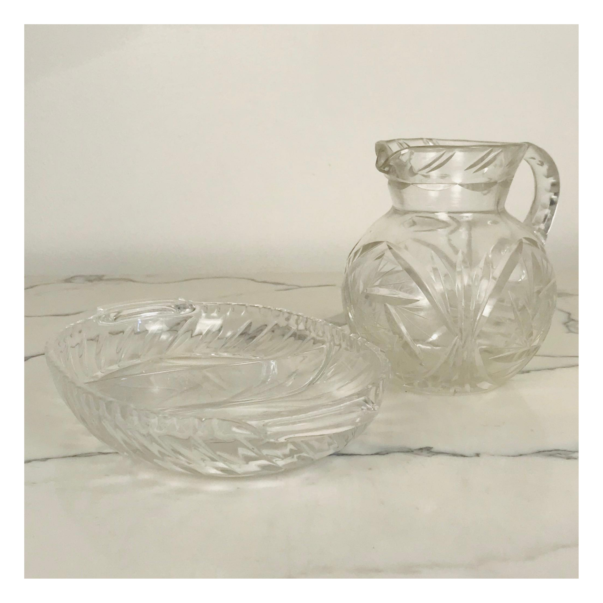 Star Pinwheel Crystal Serving Dish and Pitcher
