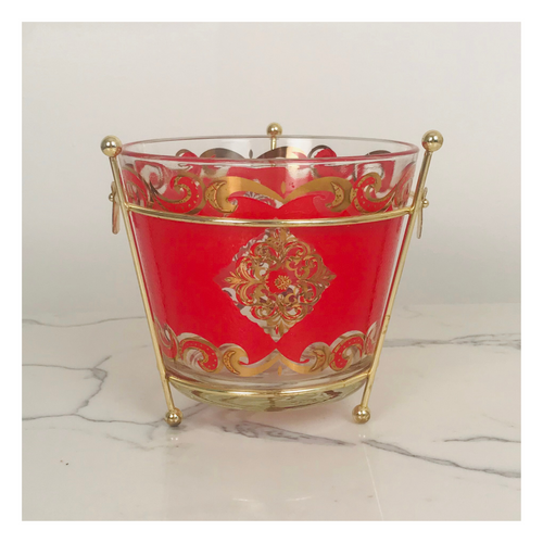 Red and Gold Ice Bucket with Gold Metal Stand