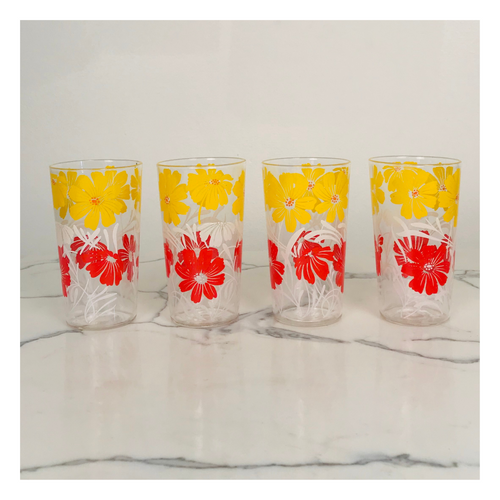 Set of 4 Red, White and Yellow Juice Glasses