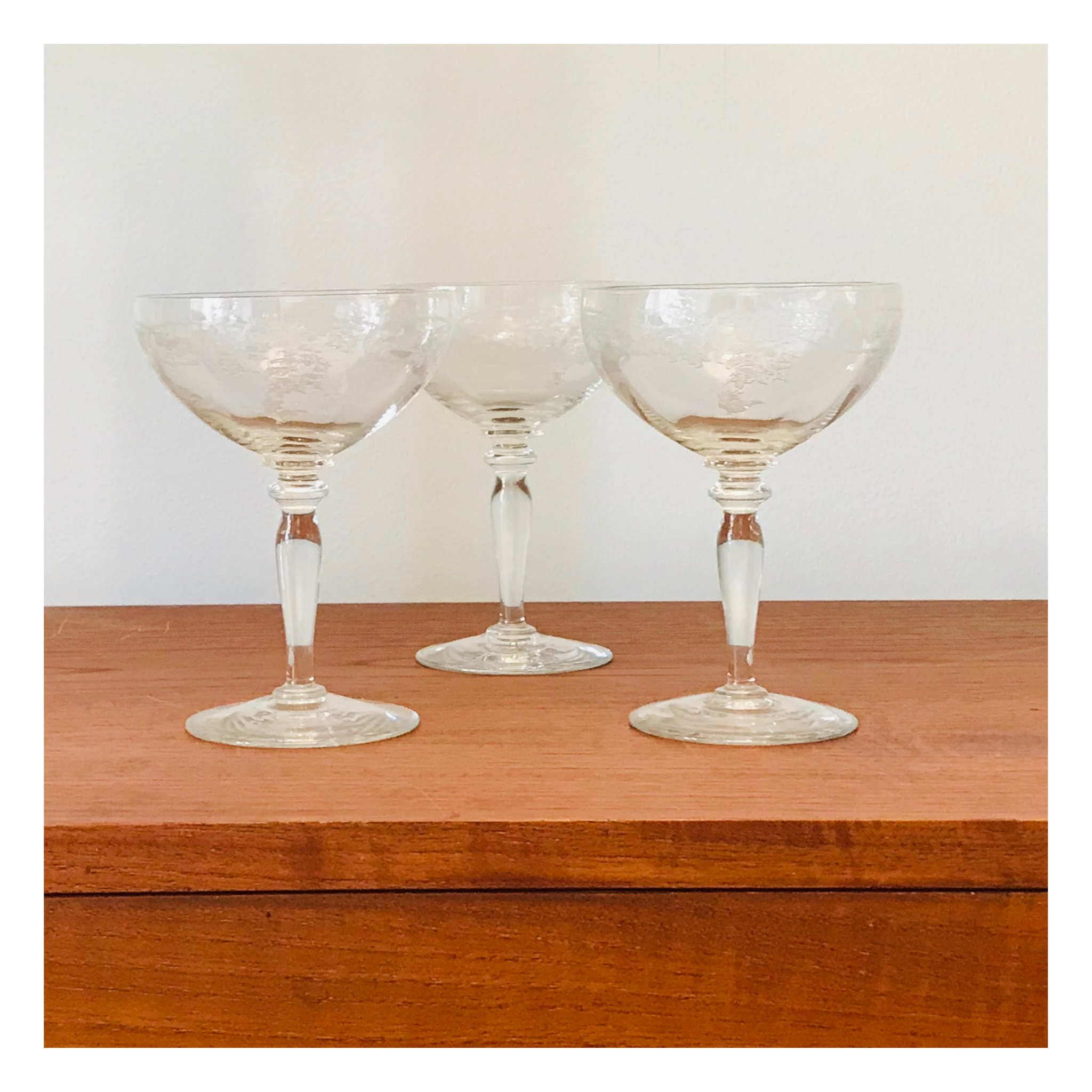 Set of 3 Etched Thistle Champagne Glasses