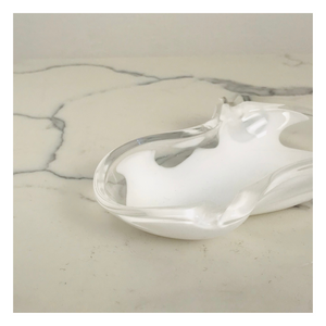 White Glass Ash Tray