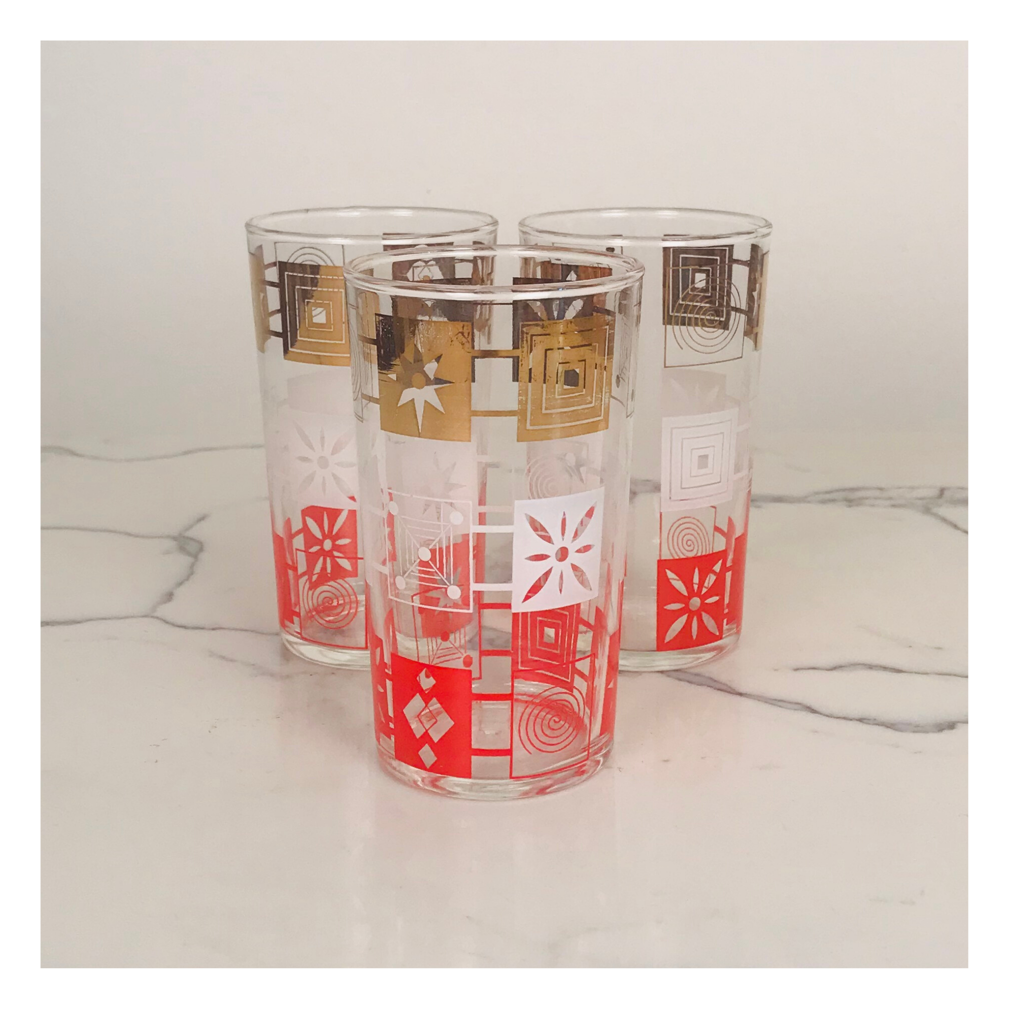 Set of 3 Red, White and Gold Juice Glasses