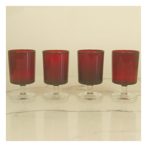 Set of 4 Red Cavalier Cristal d'Arques Glasses