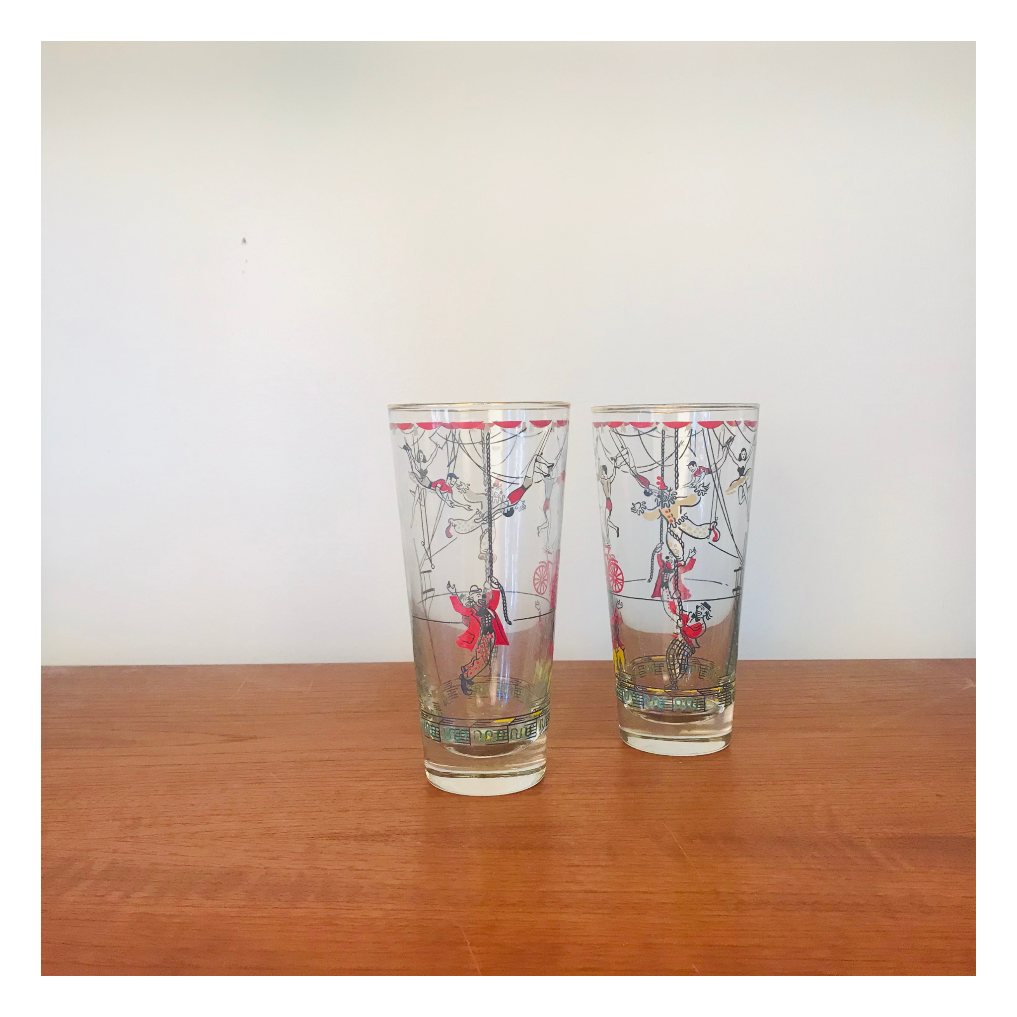 Set of 2 Circus Highball Glasses