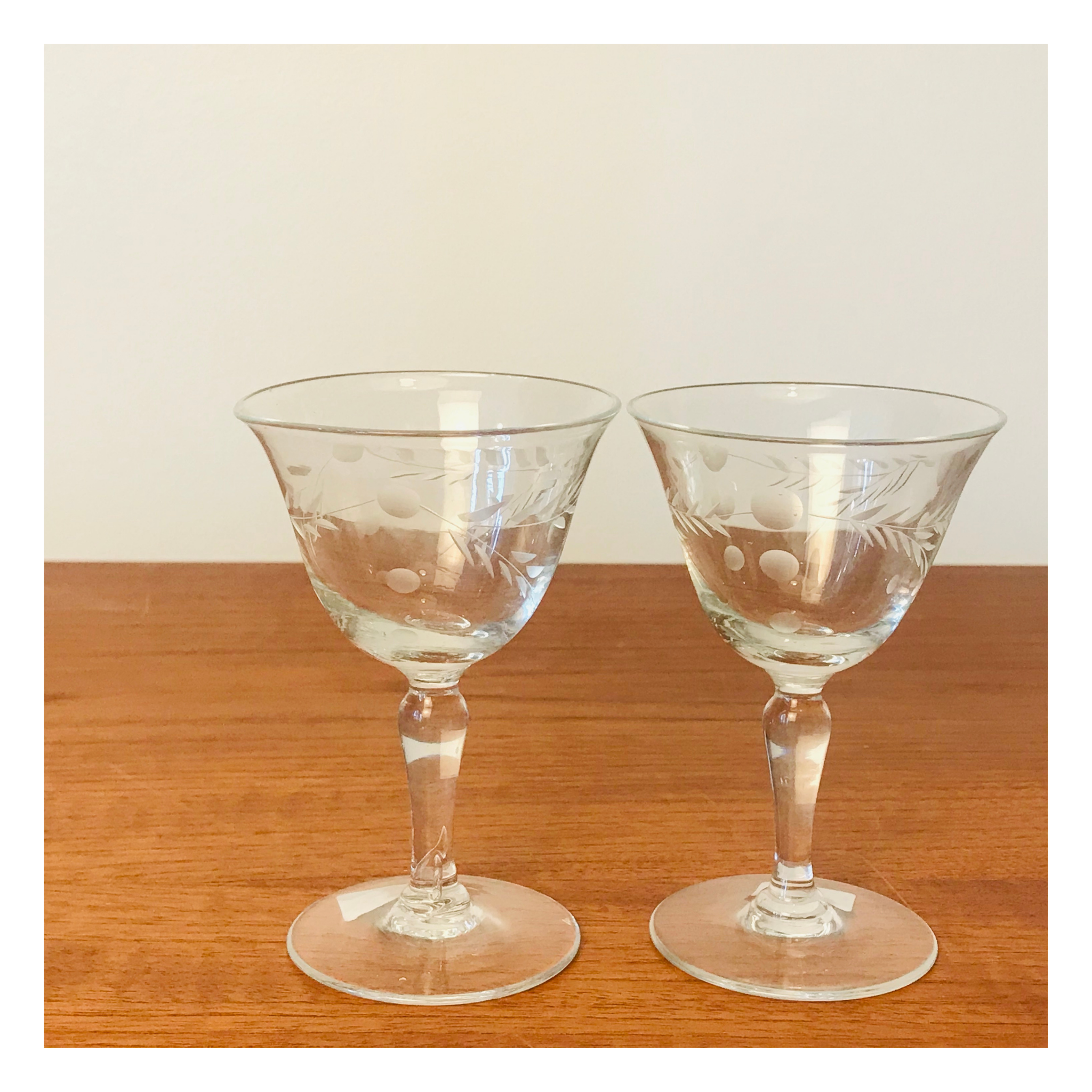 Set of 2 Etched Port or Sherry Glasses