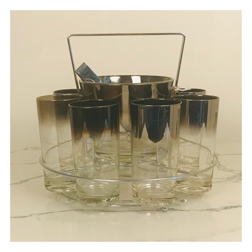 Set of 8 Silver Rimmed Glasses with Ice Bucket, Tongs and Carrier