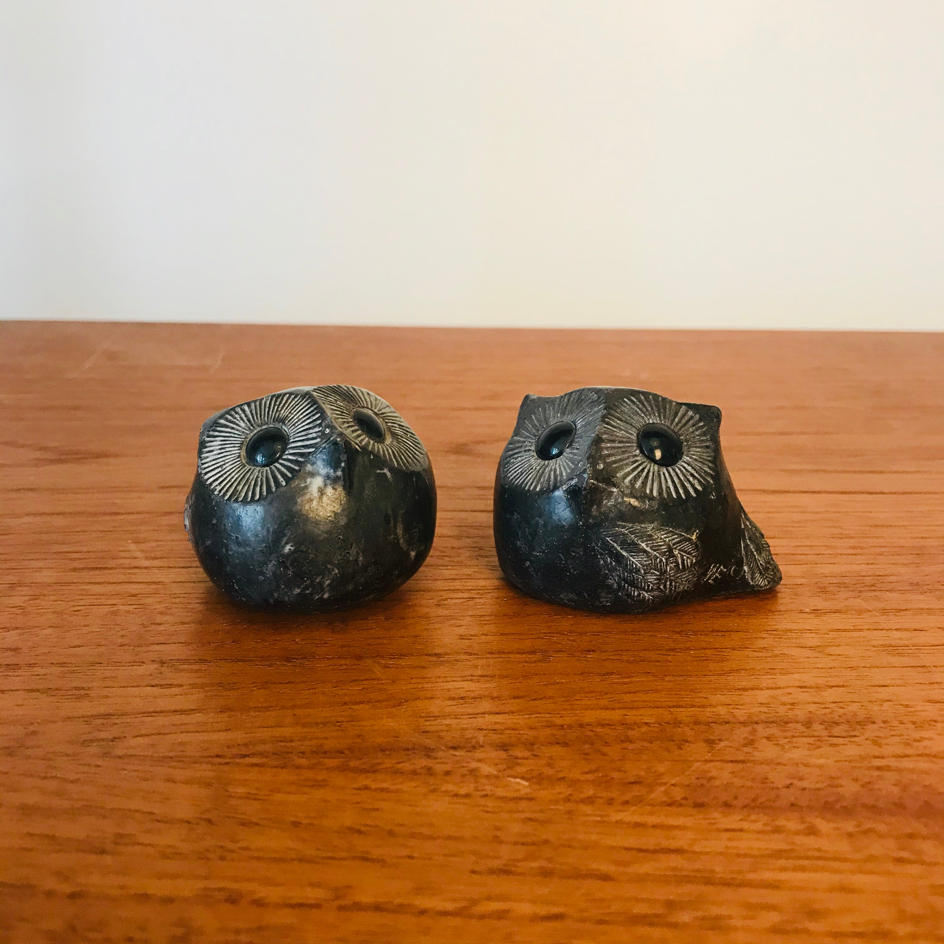 Set of 2 Wolf Original Owl Sculptures