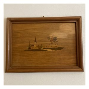 Mid-Century Wood In-Lay Art