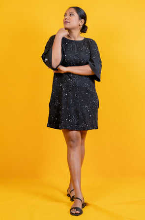 Black Shine Bright Dress - Free Size