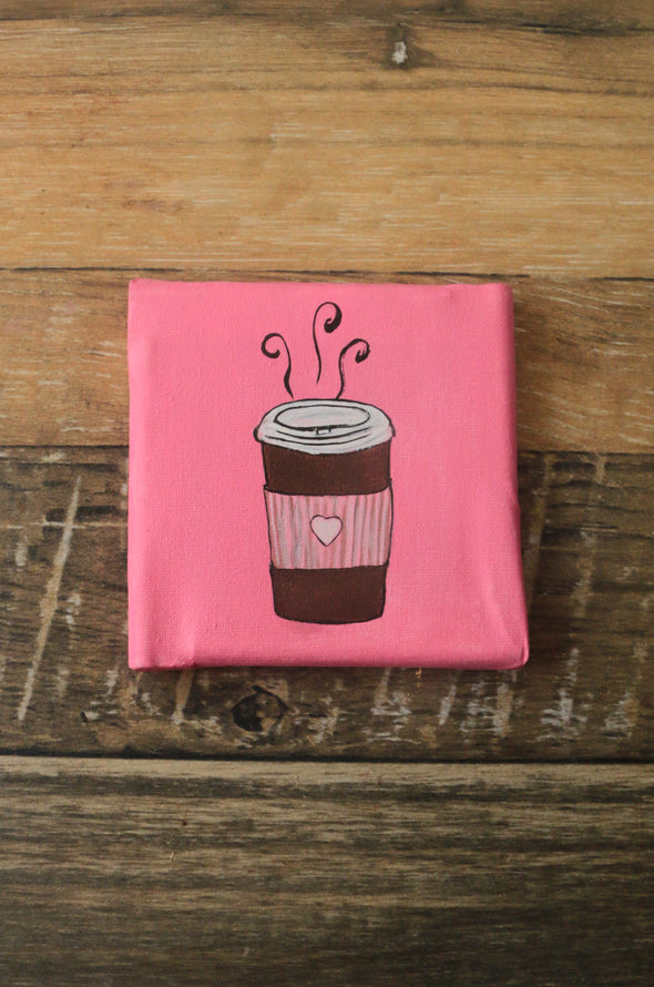 Coffee is life handpainted mini canvas