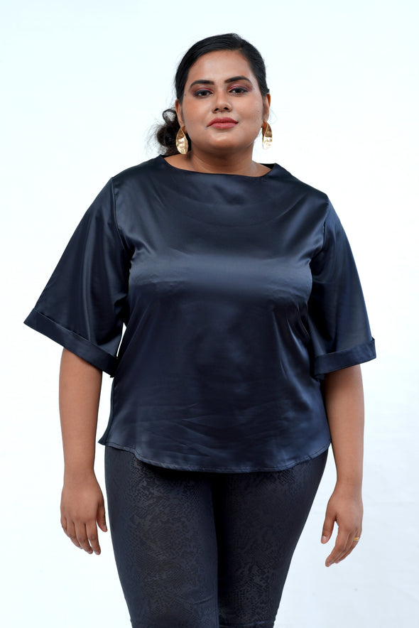Girl Boss Satin Black Top