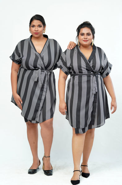 Closed Deal Striped Wrap Dress