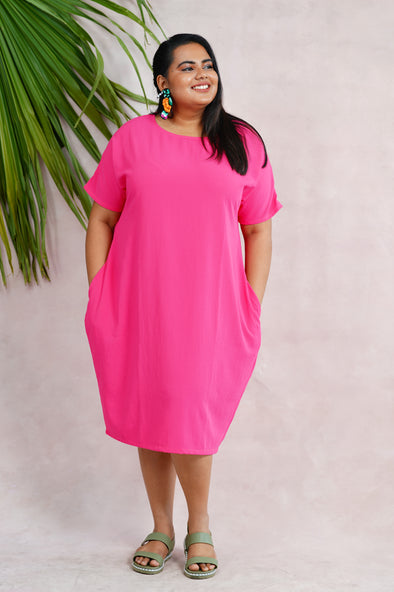 Free Size wild flower hot pink dress