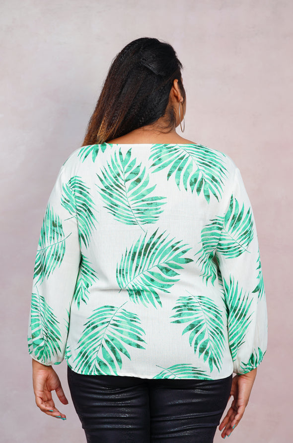 Spring Palms  Balloon Sleeve Top