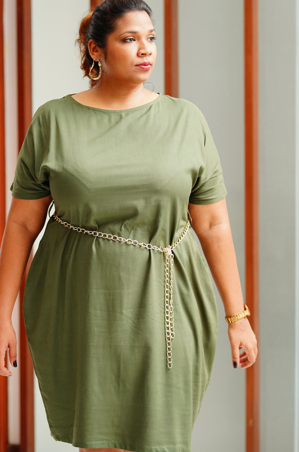 9TO9 olive green dress - Available Only at Clara Vogue