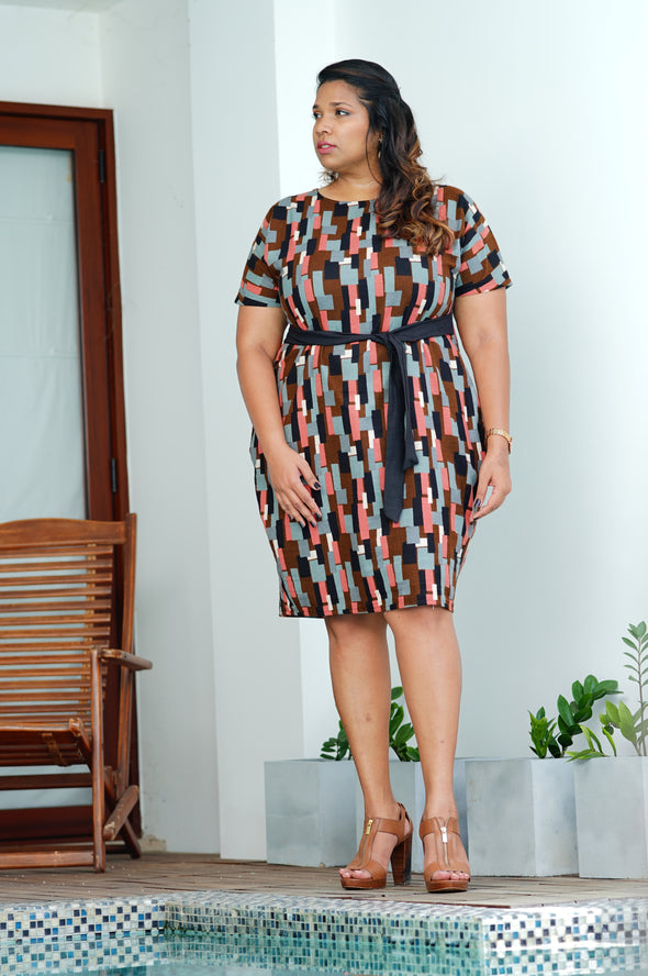 Waist Tie Paintbrush office dress