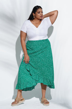 Green polka wrap skirt  - Free Size
