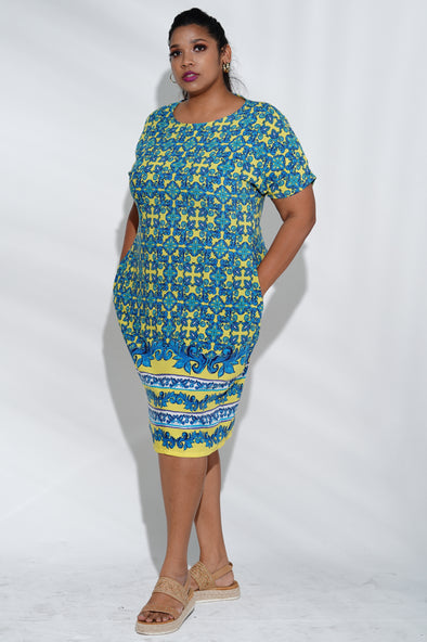 Lemon & Blue culture print Dress
