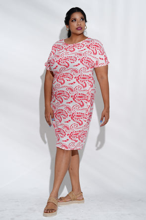 Light Red Paisley Shift Dress