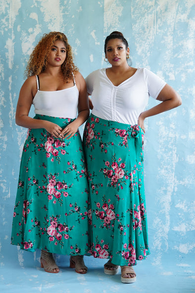 Maxi Wrap Skirt Green floral print