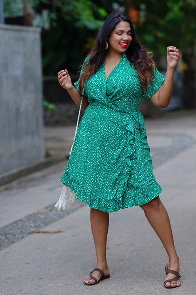 Polka Perfect Frilled Wrap Dress